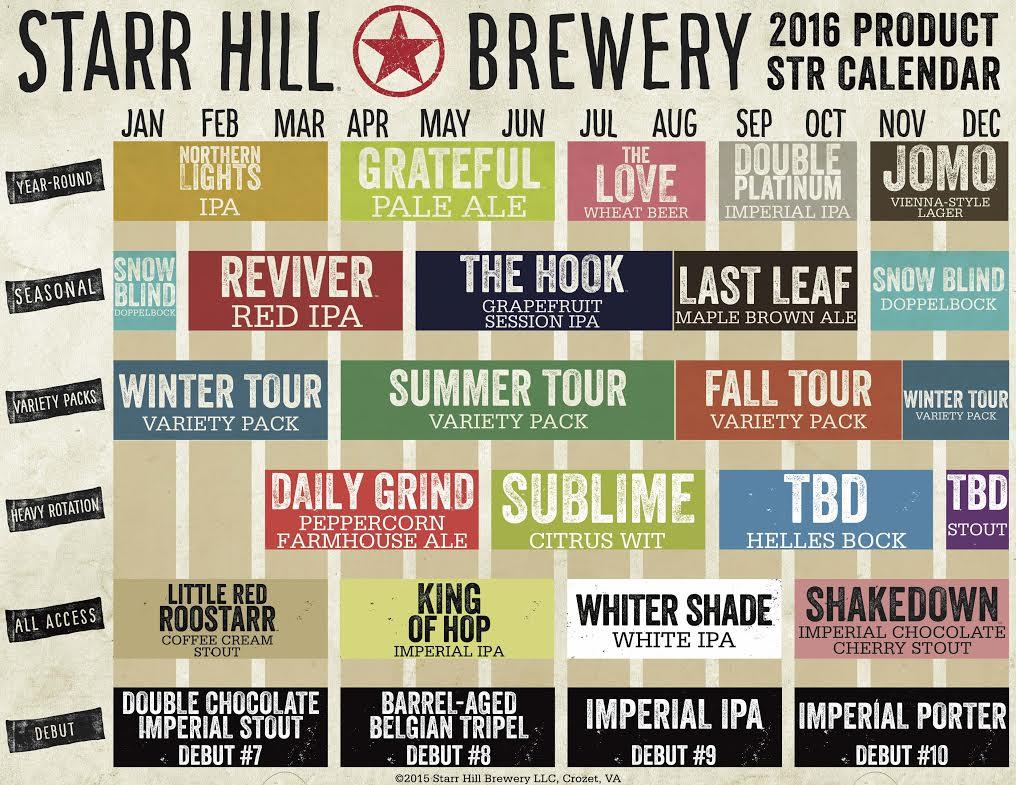 Starr Hill 2016 Schedule
