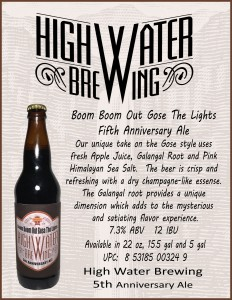 High Water Brewin Boom Boom Out Gose The Lights