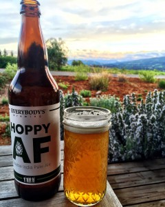 Everybody's Brewing Hoppy AF bottle and glass