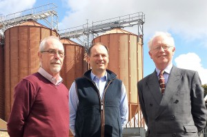 Crisp Maltings former MD Euan Macpherson, and current MD Adrian Dyter, with chief executive, David Thompson
