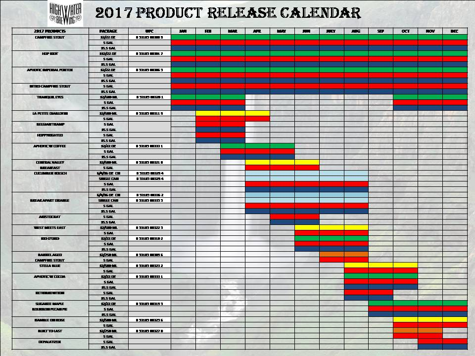 High Water Brewing Company Releases 2017 Product Calendar