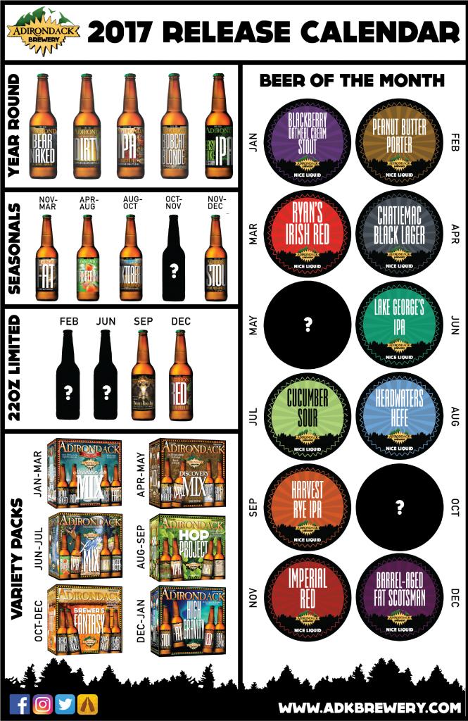 Adirondack Brewery Announces 2017 Release Calendar