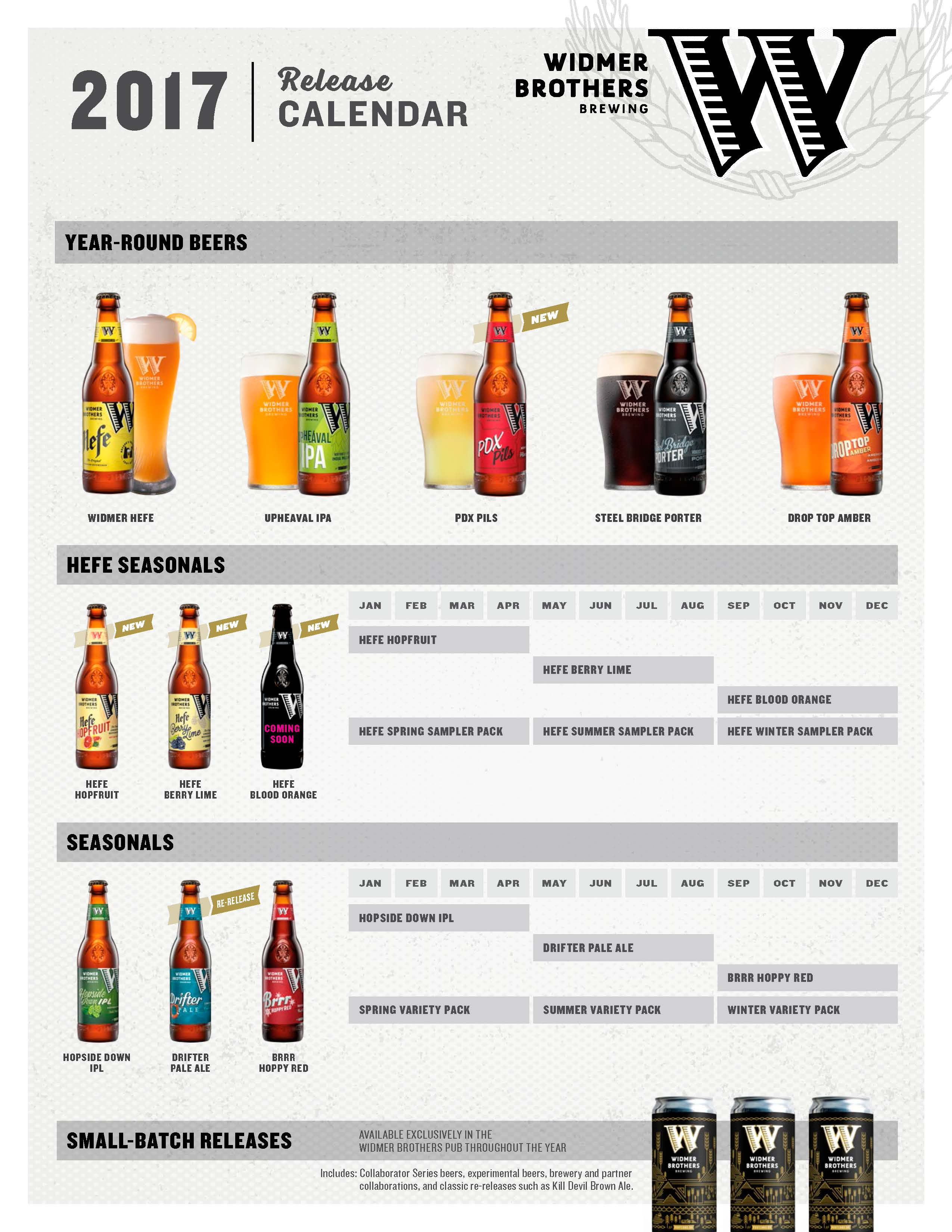Widmer Brothers 2017 Schedule and Spring Beers