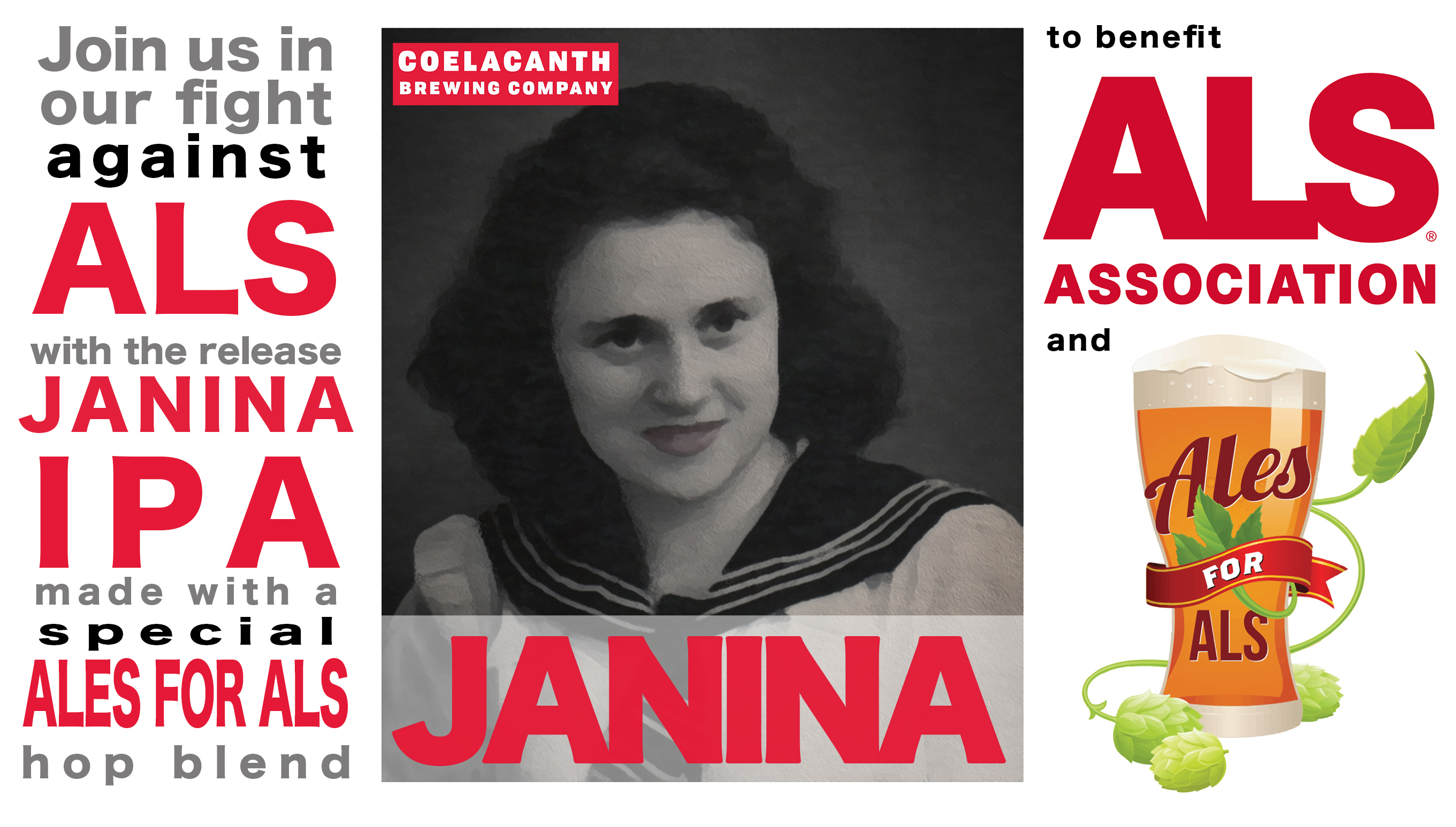 Coelacanth Brewing Partners with Ales for ALS to Release JANINA
